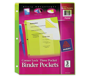 Avery 7771175310 Corner Lock Three-Pocket Binder Pocket, 11 1/4 x 9 1/4, Assorted Color, 3/Pack by AVERY-DENNISON