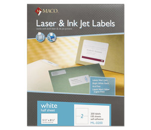 Chartpak, Inc ML0200 White All-Purpose Labels, 5 1/2 x 8 1/2, 200/Box by CHARTPAK/PICKETT