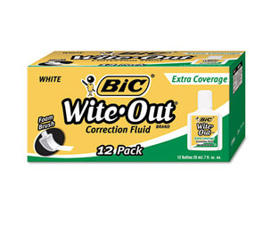 BIC WOFEC12 WHI Wite-Out Extra Coverage Correction Fluid, 20 ml Bottle, White, 1/Dozen by BIC CORP.