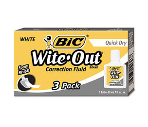 BIC WOFQD324 Wite-Out Quick Dry Correction Fluid, 20 ml Bottle, White, 3/Pack by BIC CORP.
