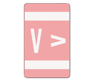 SMEAD MANUFACTURING COMPANY 67192 Alpha-Z Color-Coded Second Letter Labels, Letter V, Pink, 100/Pack by SMEAD MANUFACTURING CO.