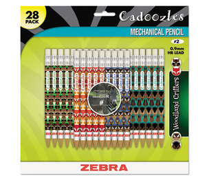 ZEBRA PEN CORPORATION 51628 Cadoozles Mechanical Pencil, Refillable, #2, Assorted Barrels, 0.7 mm, 28/Pack by ZEBRA PEN CORP.