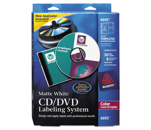 Avery 6695 CD/DVD Design Labeling Kits, Matte White, 30 Laser Labels and 8 Inserts by AVERY-DENNISON