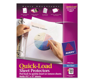 Avery 73803 Quick Top & Side Loading Sheet Protectors, Letter, Non-Glare, 50/Box by AVERY-DENNISON