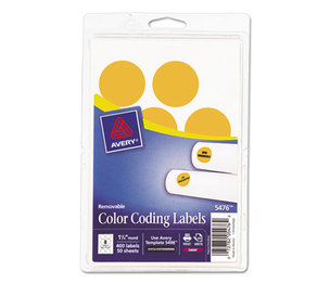 """Avery 05476 Printable Removable Color-Coding Labels, 1 1/4"""" dia, Neon Orange, 400/Pack by AVERY-DENNISON"""