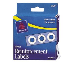 "Avery 05720 Dispenser Pack Hole Reinforcements, 1/4"" Diameter, White, 1000/Pack by AVERY-DENNISON"