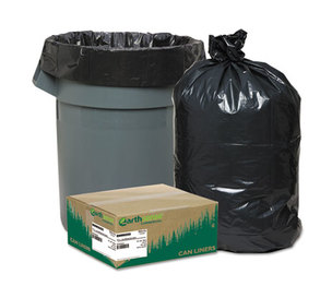 WEBSTER INDUSTRIES RNW6050 Recycled Can Liners, 55-60gal, 1.25mil, 38 x 58, Black, 100/Carton by WEBSTER INDUSTRIES