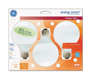 Compact Fluorescent Bulb, 11 Watt, G25 Globe, Soft White, 3/Pack by GENERAL ELECTRIC CO.