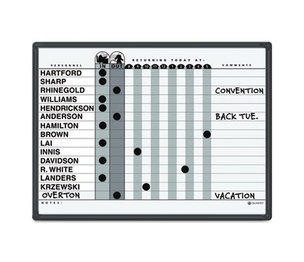 Quartet 781G Magnetic Employee In/Out Board, Porcelain, 24 x 18, Gray/Black, Aluminum Frame by QUARTET MFG.