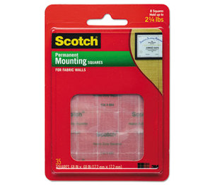 """3M 854 Permanent Heavy-Duty Mounting Squares for Fabric Walls, 7/10"""" x 17/25"""", 24/Pack by 3M/COMMERCIAL TAPE DIV."""