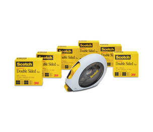 """3M 6656160 665 Double-Sided Permanent Tape w/Hand Dispenser, 1/2"""" x 900"""", 6 Rolls by 3M/COMMERCIAL TAPE DIV."""