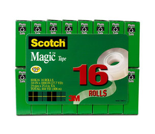 """3M 810K16 Magic Tape Value Pack, 3/4"""" x 1000"""", 1"""" Core, Clear, 16/Pack by 3M/COMMERCIAL TAPE DIV."""