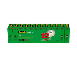 """3M 810K12 Magic Office Tape Refills, 3/4"""" x 1000"""" Roll, Clear, 12/Pack by 3M/COMMERCIAL TAPE DIV."""