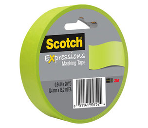"""3M 3437GRN Expressions Masking Tape, .94"""" x 20 yds, Lemon Lime by 3M/COMMERCIAL TAPE DIV."""