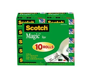 """3M 810P10K Magic Tape Value Pack, 3/4"""" x 1000"""", 1"""" Core, 10/Pack by 3M/COMMERCIAL TAPE DIV."""