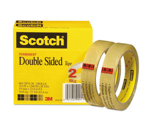 """3M 665-2P34-36 Double-Sided Tape, 3/4"""" x 1296"""", 3"""" Core, Transparent, 2/Pack by 3M/COMMERCIAL TAPE DIV."""