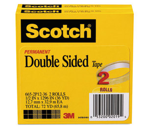 """3M 665-2P12-36 665 Double-Sided Tape, 1/2"""" x 1296"""", 3"""" Core, Transparent, 2/Pack by 3M/COMMERCIAL TAPE DIV."""