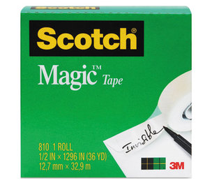 """3M 810341296 Magic Tape, 3/4"""" x 1296"""", 1"""" Core, Clear by 3M/COMMERCIAL TAPE DIV."""