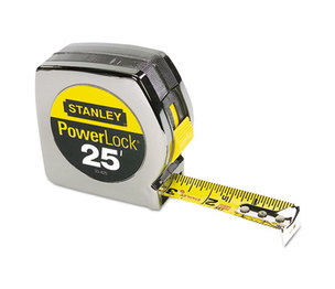 "Stanley-Bostitch Office Products 33-425 Powerlock II Power Return Rule, 1"" x 25ft, Chrome/Yellow by STANLEY BOSTITCH"