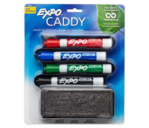 Sanford, L.P. 1785294 Mountable Whiteboard Caddy, With 4 Markers/Eraser, Set by SANFORD
