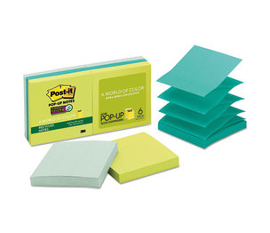 3M R330-6SST Pop-up Recycled Notes in Bora Bora Colors, 3 x 3, 90/Pad, 6 Pads/Pack by 3M/COMMERCIAL TAPE DIV.