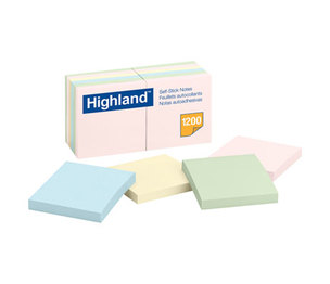3M 6549A Sticky Note Pads, 3 x 3, Assorted Pastel, 100 Sheets by 3M/COMMERCIAL TAPE DIV.