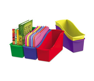Storex 70105U06C Interlocking Book Bins, 4 3/4 x 12 5/8 x 7, 5 Color Set, Plastic by STOREX