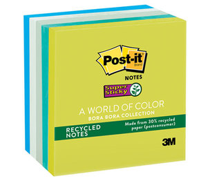 3M 654-5SST Recycled Notes in Bora Bora Colors, 3 x 3, 90/Pad, 5 Pads/Pack by 3M/COMMERCIAL TAPE DIV.