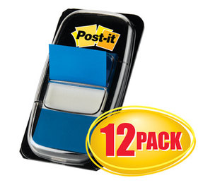3M 680-BE12 Marking Page Flags in Dispensers, Blue, 12 50-Flag Dispensers/Pack by 3M/COMMERCIAL TAPE DIV.