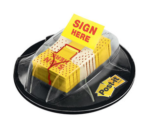 """3M 680HVSH Page Flags in Dispenser, """"Sign Here"""", Yellow, 200 Flags/Dispenser by 3M/COMMERCIAL TAPE DIV."""