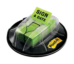 """3M 680-HVSD Page Flags in Dispenser, """"Sign & Date"""", Bright Green, 200 Flags/Dispenser by 3M/COMMERCIAL TAPE DIV."""