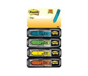 """3M 684SH Arrow Message 1/2"""" Page Flags, """"Sign Here"""", 4 Colors w/Dispensers, 120/Pack by 3M/COMMERCIAL TAPE DIV."""
