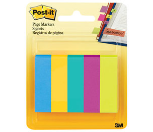 3M 6705AU Page Flag Markers, Assorted Colors,100 Flags/Pad, 5 Pads/Pack by 3M/COMMERCIAL TAPE DIV.