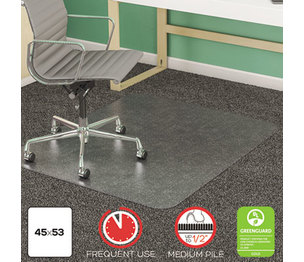Deflecto Corporation CM14243 SuperMat Frequent Use Chair Mat for Medium Pile Carpet, Beveled, 45 x 53, Clear by DEFLECTO CORPORATION