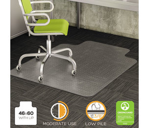 DuraMat Moderate Use Chair Mat for Low Pile Carpet, Beveled, 46x60 w/Lip, Clear by DEFLECTO CORPORATION