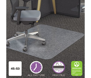 Deflecto Corporation CM11242PC Clear Polycarbonate All Day Use Chair Mat for All Pile Carpet, 45 x 53 by DEFLECTO CORPORATION