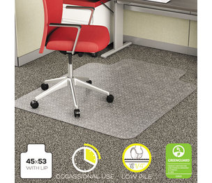 Deflecto Corporation CM11232 EconoMat Occassional Use Chair Mat for Low Pile, 45 x 53 w/Lip, Clear by DEFLECTO CORPORATION