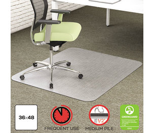 Deflecto Corporation CM1K142PET EnvironMat Recycled Anytime Use Chair Mat for Med Pile Carpet, 36 x 48, Clear by DEFLECTO CORPORATION