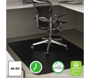 Deflecto Corporation CM21242BLK EconoMat Anytime Use Chair Mat for Hard Floor, 45 x 53, Black by DEFLECTO CORPORATION