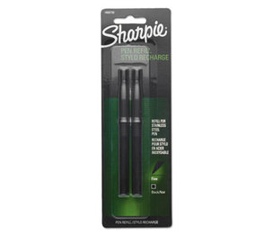Refill for Stainless Steel Pen, Fine, Black, 2/Pack by SANFORD