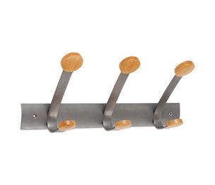 Alba, Inc PMV3 Wooden Coat Hook, Three Wood Peg Wall Rack, Brown/Silver by ALBA