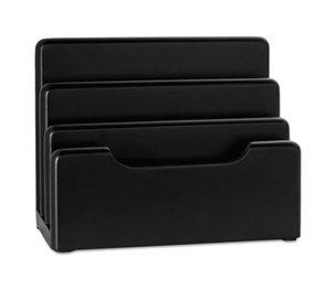 ROLODEX 62525 Wood Tones Desktop Sorter, Three Sections, Wood, Black by ROLODEX