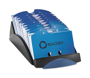 ROLODEX 66998 VIP Open Tray Card File with 24 A-Z Guides Holds 500 2 1/4 x 4 Cards, Black by ROLODEX