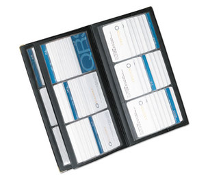 ROLODEX 67465 Vinyl Business Card Book, 6 2 1/4 x 3 3/5 Cards/Page, 32 Pages, Black/Silver by ROLODEX