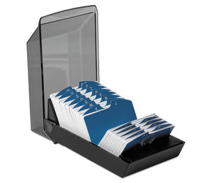 ROLODEX 67011 Covered Tray Card File w/24 A-Z Guides Holds 500 2 1/4 x 4 Cards, Black by ROLODEX