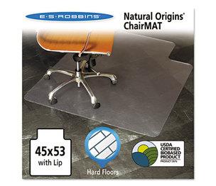 E.S. ROBBINS 143012 Natural Origins Chair Mat With Lip For Hard Floors, 45 x 53, Clear by E.S. ROBBINS