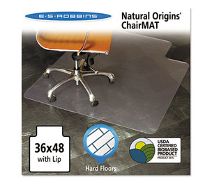E.S. ROBBINS 143002 Natural Origins Chair Mat With Lip For Hard Floors, 36 x 48, Clear by E.S. ROBBINS