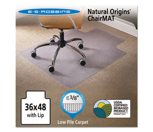E.S. ROBBINS 141032 Natural Origins Chair Mat With Lip For Carpet, 36 x 48, Clear by E.S. ROBBINS