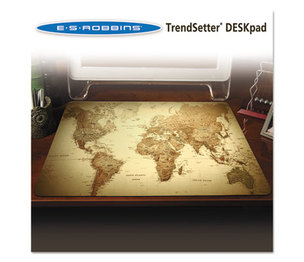 E.S. ROBBINS 119066 Trendsetter World Map Desk Pad, 24 x 19, Golden by E.S. ROBBINS