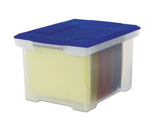 Storex 61508U01C Plastic File Tote Storage Box, Letter/Legal, Snap-On Lid, Clear/Blue by STOREX